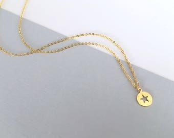 STAR DISK Necklace 14k Delicate, gold filled, gold, layering necklace, minimalistic modern everyday, gift for her, by Little Motives