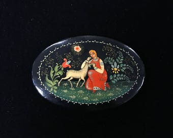 Hand Painted Russian Brooch