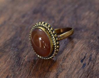 45% off, natural orange stone ring,brass ring,orange stone adjustable brass jewellery ring