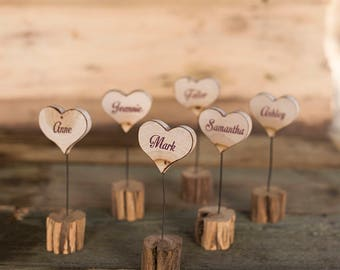 10 Wood name cards, Wooden wedding place cards, Wood escort cards, Rustic place card holder, Wedding gift for guests, Rustic wedding decor