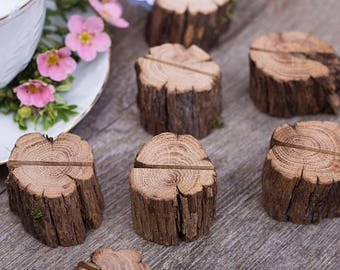 10 Wood wedding place card holders, rustic name card holder, wooden escort card holder, wood wedding table decor, wedding card holder