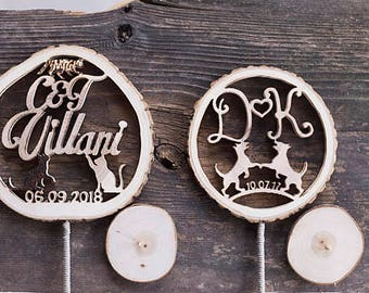 Wedding cake topper with dog, Wood cake topper, Wedding keepsake, Rustic cake topper, Rustic cake decor, Barn wedding decor, Personalized