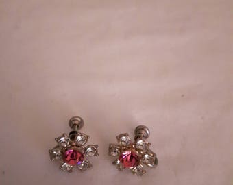 Vintage Clear and Pink Rhinestone Flower Earrings - Silver Tone - Screw-back - 1940s