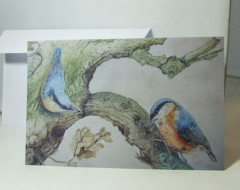 "greeting card with print from an original painting made by me ""Nuthatches in oak tree"", birthday, housewarming, moving, anniversary"