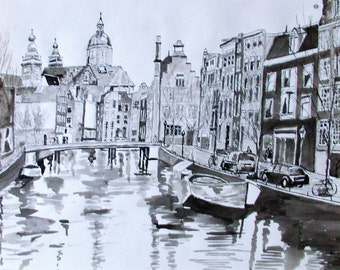 "pen drawing with ink on paper ""Amsterdam canal"" 29.5 x 42 cm"
