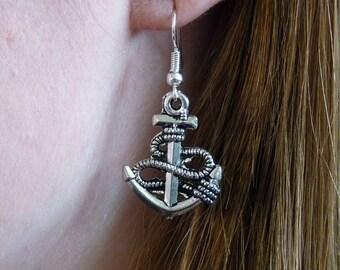 Handmade Silver Anchor and Rope Dangle Drop Hook Earrings