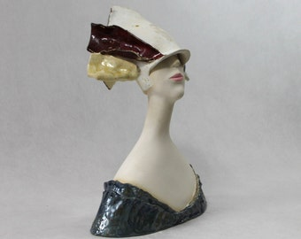 Bust of a Woman , Ceramic Sculpture , Fine Art Ceramic , Art Object , Handmade Clay Sculpture , Ceramic Art , Ceramic Figurine , Pottery ,