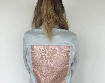 White denim jacket with pink paisley brocade