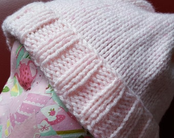 Adult's Beanie hat, Designed, Hand-knitted, Pink with tiny mid Pink flecks, Aran yarn, Winter hat, Gift, Treat,  Walks, Warm, Pink Beanie.