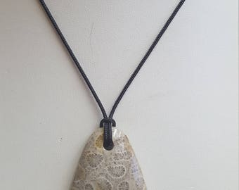 Fossilized Coral Pendant Necklace, Free Shipping (E17066), Fossilized Coral Necklace