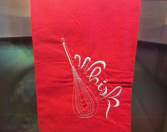 Kitchen Towel - Dish Towel - Tea Towel - Kitchen Decor - Whisk - Red and Gray