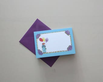 Children's menu small 'Wollie flies in the air' with purple envelope, fold-out map