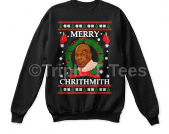 Ugly Christmas Sweater Mike Tyson Merry Chrithmith Parody Funny Novelty Gift Free UK Cheap US Shipping