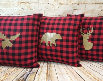 18 Inch Red Buffalo Plaid Woodland Pillows with Gold Glitter HTV Choice of Bear Moose Deer