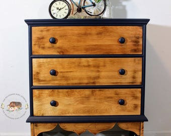 SOLD: Rustic, Primitive, Modern Farmhouse 3-Drawer Chest of Drawers in Midnight Blue and Natural Wood Patina