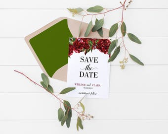 Printable Floral Save the Date,  Wedding Announcement, Engagement, Postcard, Invitation Template, Save the Date Card, Save-the-Date