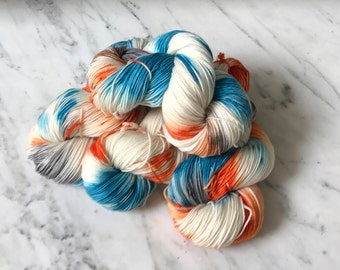 "Superwash Merino and Cashmere Sock Yarn ""Autumn Sky"""