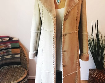 Vintage Long Faux Shearling Jacket 70s Style Hippie Boho Gypsy Fashion Penny Lane Fall Winter Coat LUCY PARIS