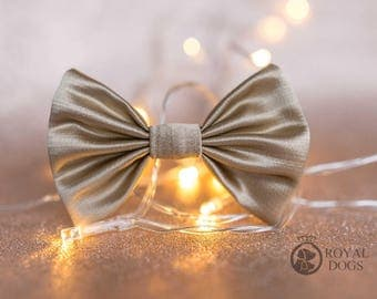 Gold Dog Bow Tie | Wedding Bow Tie | Christmas Bow Tie | Formal Bow Tie | Gift For Pet | Luxury Dog Gift | UK | Bowtie