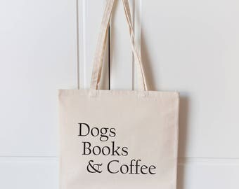 Dogs Books & Coffee Tote Bag | Natural Canvas Tote Bag | Dog Bag | Dog Lover Gift | Dogs Books Coffee Bag | Dog Shopping Bag | Tote Bag |