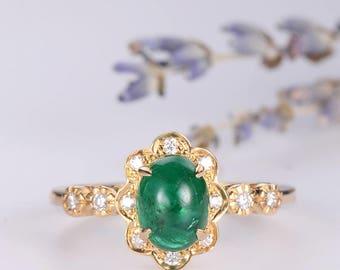 Antique Engagement Ring Art Deco Emerald Ring Oval Cut Diamond Flower Floral Birthstone Wedding Bridal Ring Unique Retro Eternity Gold Ring