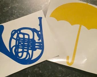 Blue French Horn Yellow Umbrella How I met your mother Vinyl Decal