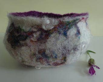 Felted bowl with sari silk and mohair curls - Sophia