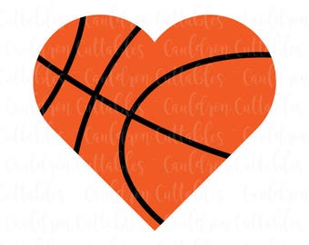 Basketball Heart SVG File - Love Basketball Clipart - Sports DXF EPS Png Cut File - Diecut Machine Digital File - Instant Download