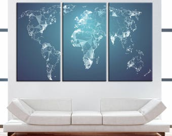 Large Polygonal Modern Geometric World Map Canvas Panels Set,Abstract World Map Print,Wall Art for Home & Office Decor