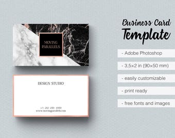 rose gold white black marble glitter foil business card template