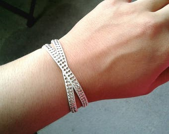 Double Wrapped Studded White Leather Bracelet Gold Studded Bracelet Gold Studded White Leather Bracelet Women's Bracelet