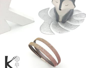Bracelet two rounds silver hologram leather