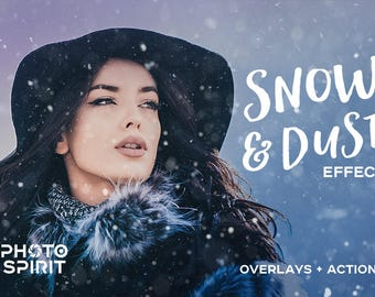 Download Snow & Dust Effect Overlays Photoshop Actions — Pack of Textures in JPG with quick Actions, Photo Collection