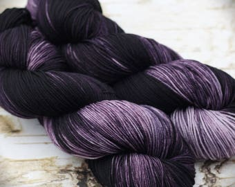 Hand dyed yarn, hand dyed fingering yarn, hand dyed sock yarn, kettle dyed yarn, tonal yarn, Eldritch