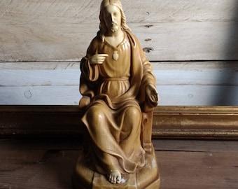 Vintage Sacred Heart of Jesus Christ - Stucco statue -  Catholic Art -