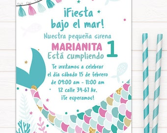 Little mermaid - first year invitation, birthday, mermaid invitation cards