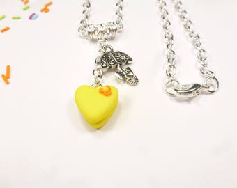 heart yellow cookie jenfant Fimo necklace