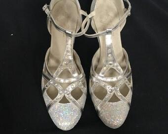 Vintage Silver Sparkly Strap Heel with Crystals