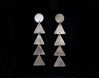 Handmade sterling silver geometric triangle drop earrings