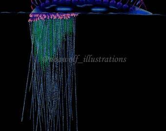 Jellyfish decor - Jellyfish artwork - Jellyfish print - Jellyfish art - Jellyfish drawing - Jellyfish painting - Jellyfish design