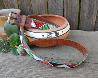 Vintage Southwestern Beaded Belt / 50s 60s Native American Beaded Belt // Boho Belt // Festival Clothing// Western Belt
