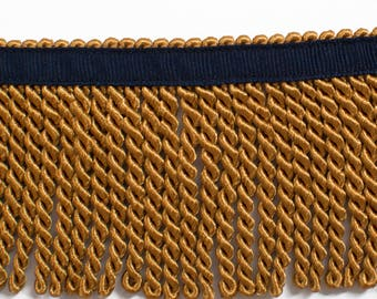 Gold Fringe with Navy Ribbon