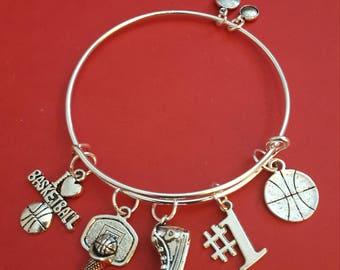Silver Basketball Themed Charm Bracelet