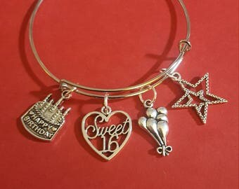 Sweet 16 Birthday Themed Charm Bracelet