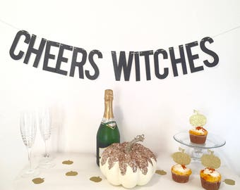 Halloween Banner, Cheers Witches Banner, Halloween Garland, Cheers Banner, Cheers Garland, Black Glitter Banner, Halloween Party Decor