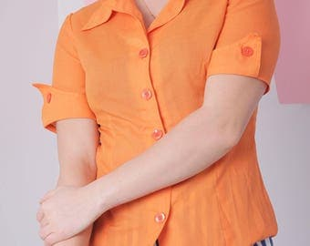 70s pointed collar shirt size 40, orange button up blouse, vintage short sleeve shirt, retro blouse