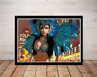 Las Vegas Picture, Print or Canvas, Vegas Showgirl Wall Art, Retro Travel Poster, Las Vegas Travel Decor, Fun Old School Vegas Gift, Dancer