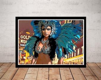 Las Vegas Picture, Print or Canvas, Vegas Showgirl Wall Art, Retro Travel Poster, Las Vegas Travel Decor, Fun Old School Vegas Gift, Dancer