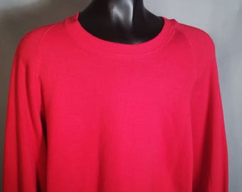80s Jerzees Red Blank Sweatshirt Sz XL 1980s Long Sleeve Comfy Warm Retro Capsule Wardrobe Basic Made in USA Plus Oversize Sweater Layering