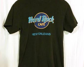 80s Hard Rock Cafe New Orleans NOLA Black Graphic Tee Short Sleeve Sz Medium Large XL Neon Louisiana Retro 1980s Rare Southern South Blues